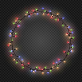 Christmas and New year realistic light garlands like frame on a transparent background, vector. Christmas and New year realistic colorful light garlands like Stock Photos