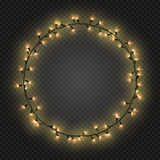 Christmas and New year realistic light garlands like frame on a transparent background, vector. Stock Photography