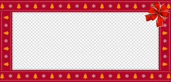 Christmas or new year rectangle border frame with bells and snow flakes ornament and red ribbon. Cute Christmas or new year rectangle banner, border, frame with stock illustration