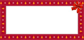 Christmas or new year rectangle border frame with bells and snowflakes pattern and red bow. Cute Christmas or new year rectangle banner, border, frame with bells vector illustration