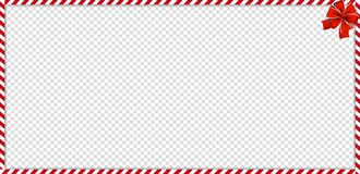 Christmas, new year rectangle candy cane frame withfestive bow on transparent background vector illustration