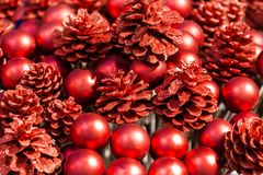 Christmas and New Year red background. Christmas tree cones and Stock Photos