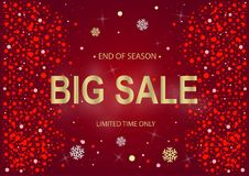 Sale New Year red and gold. Christmas and New Year red background with Gold Stock Images