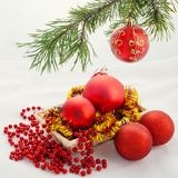 Christmas and new year red ball Stock Photography