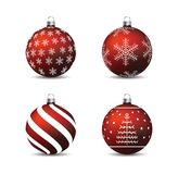 Christmas, New Year - Red baubles with motives. Vector EPS10 Illustration royalty free illustration