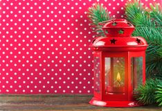 Burning candle lantern with decorations. Royalty Free Stock Photos