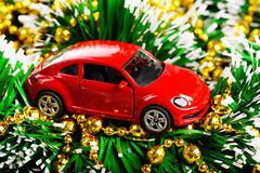 Christmas and new year red car toy present. (installation on the theme of New Year and Christmas business Stock Photos