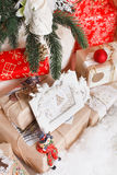 Christmas, new year, red Christmas balls. Beautiful Christmas decor on red satin cloth royalty free stock image