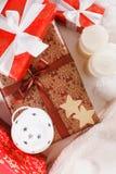 Christmas, new year, red Christmas balls. Beautiful Christmas decor on red satin cloth royalty free stock photos