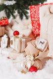 Christmas, new year, red Christmas balls. Beautiful Christmas decor on red satin cloth stock photography