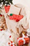Christmas, new year, red Christmas balls. Beautiful Christmas decor on red satin cloth royalty free stock photo