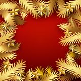 Golden Xmas paper cut branches. Christmas and New Year red color background with golden paper art cut out fir tree branches decorated stars. Xmas Vector Royalty Free Stock Photos