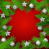 Xmas green branches frame Royalty Free Stock Photo