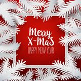 Xmas card with paper branches Stock Photos