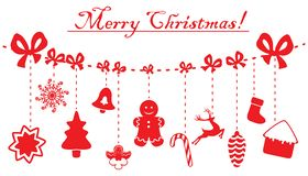 Christmas and New Year red decoration hanging on a rope. Vector illustrations isolated on white. Christmas and New Year red decoration hanging on a rope. Vector royalty free illustration