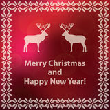 Christmas and new year red greeting card with ethnic border and deers Royalty Free Stock Images