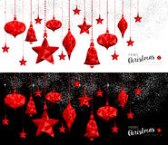 Christmas and New Year red ornament bauble banners Royalty Free Stock Photo