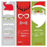 Christmas and New Year Retro Party Cards Royalty Free Stock Photos