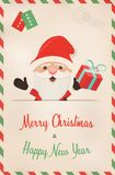Christmas and new year retro santa claus postcard. Merry Christmas and Happy New Year vintage greeting card illustration. Retro style postcard from north pole Stock Images