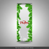 Christmas or New Year roll up banner layout template design. Royalty Free Stock Photo