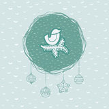 Christmas and New Year round frame with bird on branch symbol. Greeting card. Royalty Free Stock Photo