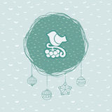 Christmas and New Year round frame with bird on branch symbol. Greeting card. Royalty Free Stock Image