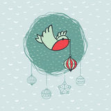 Christmas and New Year round frame with bird symbol. Greeting card. Stock Images