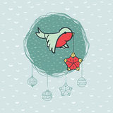 Christmas and New Year round frame with bird symbol. Greeting card. Royalty Free Stock Photography