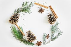 Christmas and New Year round frame composition. Fir branches with cones, star anise, cinnamon on white background. Christmas round frame composition. Fir royalty free stock images
