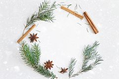 Christmas and New Year round frame composition. Fir branches, star anise, cinnamon on white background. Christmas round frame composition. Fir branches, star stock photo