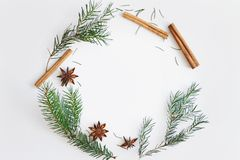 Christmas and New Year round frame composition. Fir branches, star anise, cinnamon on white background. Christmas round frame composition. Fir branches, star royalty free stock photography