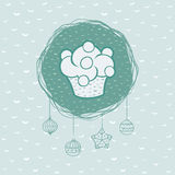 Christmas and New Year round frame with cupcake symbol. Greeting card. Royalty Free Stock Image