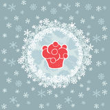 Christmas and New Year round frame with cupcake symbol. Greeting card. Royalty Free Stock Images