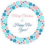 Christmas and new year round frame with greetings Royalty Free Stock Images