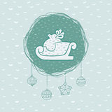 Christmas and New Year round frame with sled symbol. Greeting card. Royalty Free Stock Image