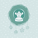 Christmas and New Year round frame with snow ball symbol. Greeting card. Royalty Free Stock Photo