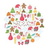 Christmas and New Year round print with cute holiday things Stock Image