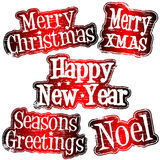 Christmas and New Year rubber stamps. Decorative Christmas and New Year celebration rubber stamps Stock Photo