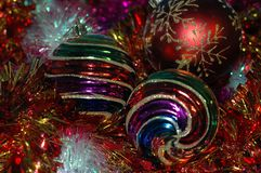 Christmas and New Year`s background. A different-colored tinsel Stock Photo