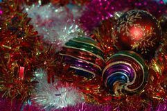 Christmas and New Year`s background. A different-colored tinsel Stock Images