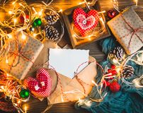 Christmas theme on wooden table. stock images
