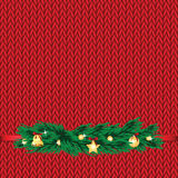 Christmas and New Year's background with place for your text. Christmas decorations on the knitted background vector illustration