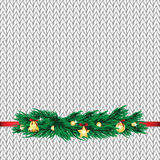 Christmas and New Year's background with place for your text. Christmas decorations on the knitted background royalty free illustration