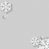Christmas and New Year's background with place for your text.Whi. Te snowflakes on a white knitted background royalty free illustration