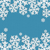 Christmas and New Year's background with place for your text. White snowflakes on a blue knitted background vector illustration