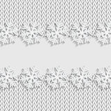 Christmas and New Year`s background with place for your text. White snowflakes on a knitted background royalty free illustration
