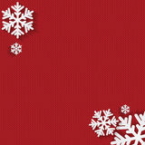 Christmas and New Year's background with place for your text. White snowflakes on a red knitted background vector illustration