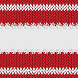 Christmas and New Year`s background with place for your text. White snowflakes on a red knitted background vector illustration