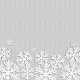 Christmas and New Year's background with place for your text. White snowflakes on a white knitted background vector illustration