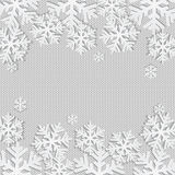 Christmas and New Year's background with place for your text. White snowflakes on a white knitted background stock illustration